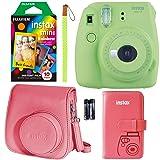 Fujifilm Instax Mini 9 Instant Camera - Lime Green, FujiFilm Instant Mini Rainbow Film, Fujifilm Instax Groovy Camera Case - Raspberry and Fujifilm INSTAX Wallet Album Raspberry (Color: Green, Tamaño: 10 Prints)