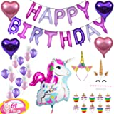 Unicorn Party Supplies & Decorations for Girls - 64pcs Unicorn Themed for Kids - Happy Birthday Balloon Banner, Latex Balloons, Glitter Headband for Girl, Cake Topper & Cupcake Wrapper Set | Uschoice