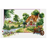 TINMI ATRS DIY Stamped Cross Stitch Landscape Kits Thread Needlework Embroidery Printed Pattern 11CT Home Decoration Four Seasons (Summer) (Color: summer)