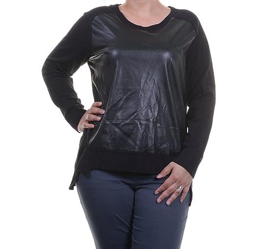 Alfani Deep Women's Plus Faux-Leather Crewneck Sweater