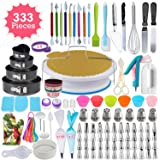 333pcs Cake Decorating Kit - Complete Cake Decorating Supplies & Baking Supplies - Baking Kit with 2 Piping Bags and 55 Tips - Frosting Bags and Tips with Turntable - Cupcake Decorating Kit (Color: Silver, Tamaño: 1)