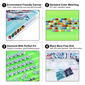 XPCARE 4 Pack 5d Diamond Painting Kits DIY Full Drill Rhinestone Animal Diamond Dotz Pictures for Home Wall Decor(12x16inch) (Tamaño: 12x16inch)