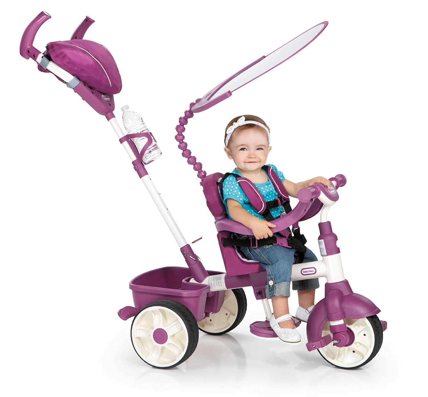 An Image of Little Tikes 4-in-1 Trike Ride On, Pink/Purple, Sports Edition