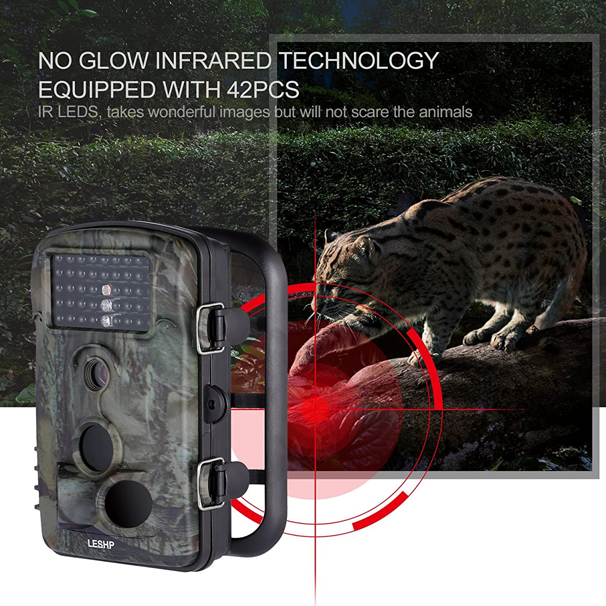 "Hunting Trail Camera, Elepawl Wildlife Game Camera 12MP 1080P HD No Glow with Time Lapse 65ft 120°Wide Angle Infrared Night Vision 42pcs IR LEDs 2.4"" LCD Screen Scouting Cam Deer Camera"