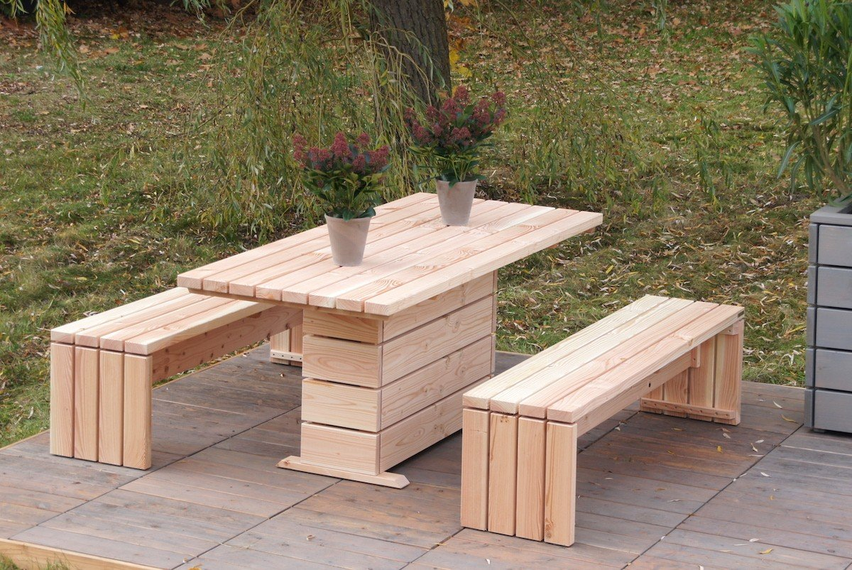 binnen-Markt Gartenmöbel Set 2 Heimisches Holz Douglasie Natur