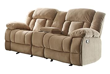 Homelegance 9636NF-2 Double Glider Reclining Loveseat with Center Console, Taupe Fabric