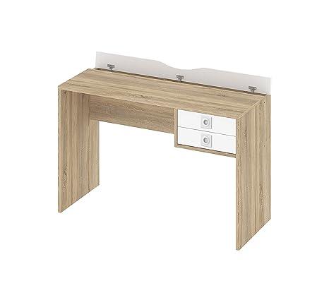 Scrivania per PC portatile in legno di quercia/bianco