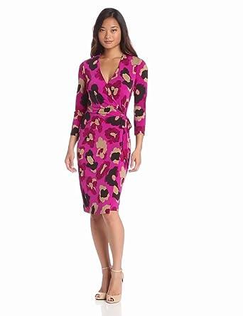 Anne Klein Women's Floral Print Dress, Magenta Multi, Small