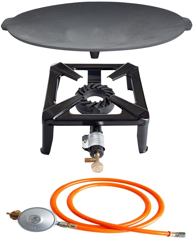 Hockerkocher mit 8.5 kW Leistung, Abmessung 30x30x15 cm und Gusseisengrillschale Ø 45 cm inkl. Gasschlauch & Regler bestellen