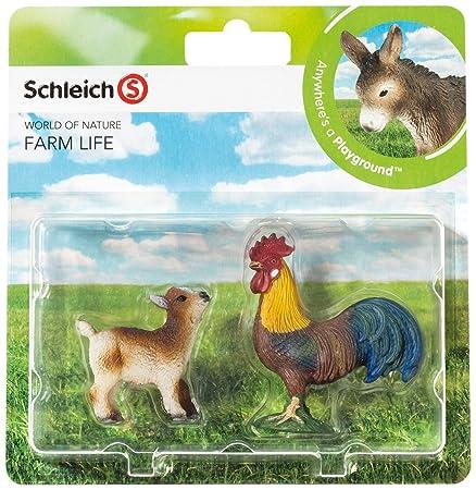 Schleich - 21032 - Figurine Animal - Coq Et Chevreau - Pack De 2