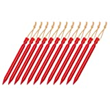 OBKJJ Tent Stakes,7075Aluminium Tent Nail Lightweight with Reflective Rope 12-Piece (Red) (Color: Red)