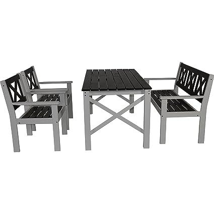 Gartenmöbel Set Tisch Bank 2 Stuhle Kiefer grau/weiß lackiert 150/59/129 cm