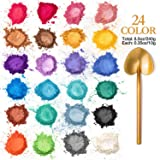 SuMile Mica Powder 24 Colors 240g Cosmetic Grade Mica Powder Natural Mica Mineral Powder Pearl Dyes for Epoxy Resin, Bath Bomb, Soap, Candle, Slime Coloring, Makeup and Nail Art, Colorful Non-Toxic (Color: multicolored, Tamaño: 240g)