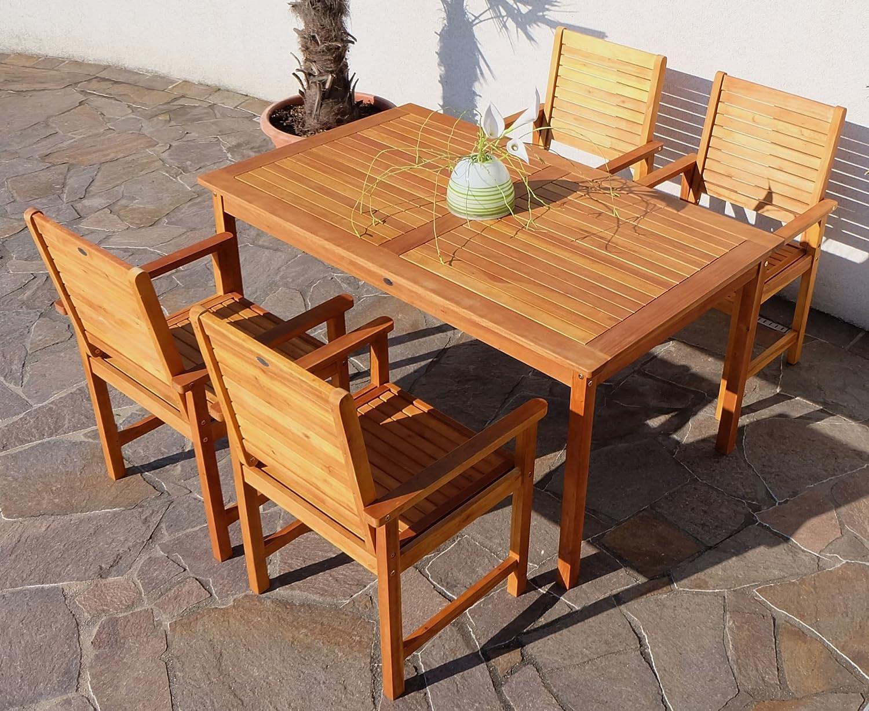 Edle Gartengarnitur Gartenset Gartenmöbel Garnitur Sitzgruppe SARIA-EU4 mit 4 Sessel und einem Tisch Holz Eukalyptus wie Teak von AS-S