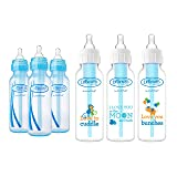Dr. Browns Baby Bottles Boys 6 Pack - 3 (8 oz) Blue and 3 (8 oz) Clear Bottles with New Prints (Color: Blue)