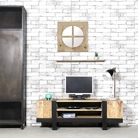 Mueble TV industrial madera cepillado | tbimtv
