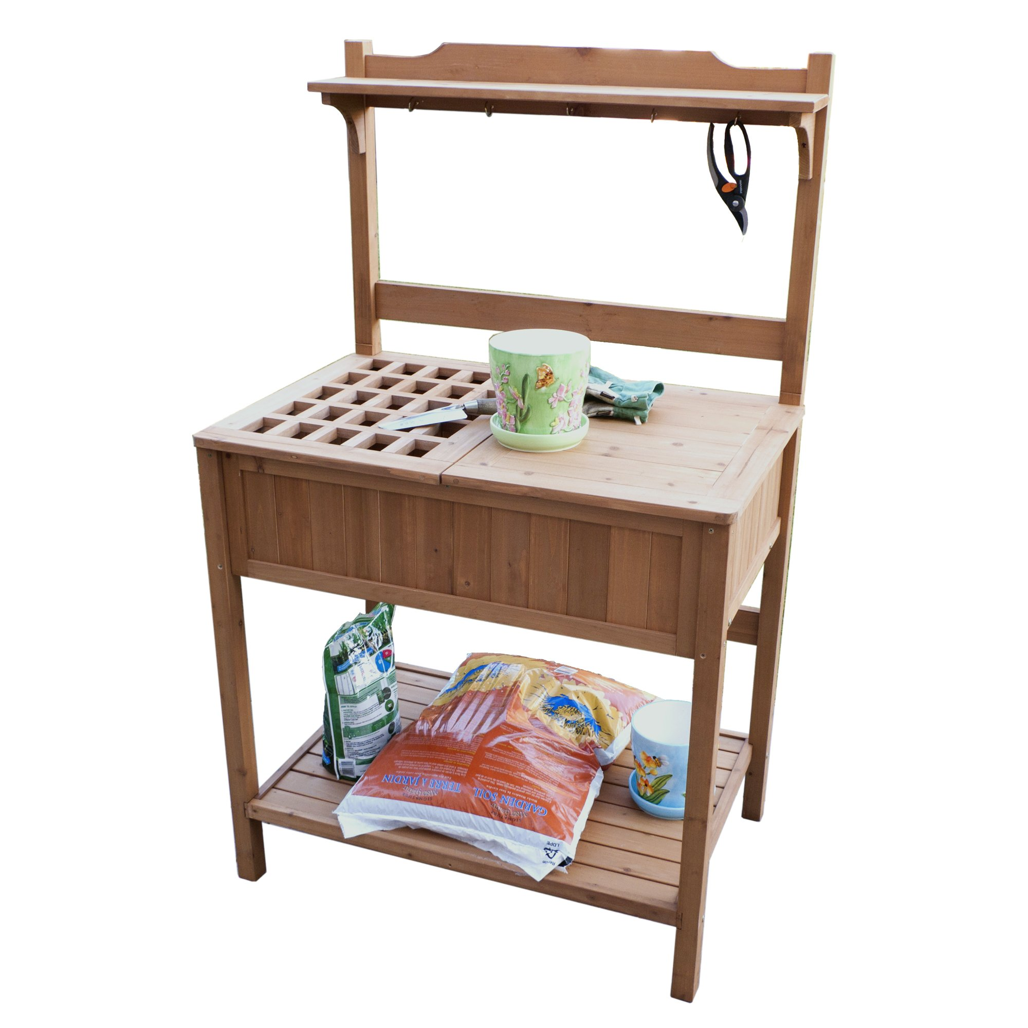 Merry garden potting bench with recessed storage ebay Outdoor potting bench