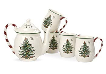 Spode Christmas Tree Peppermint Tea Set