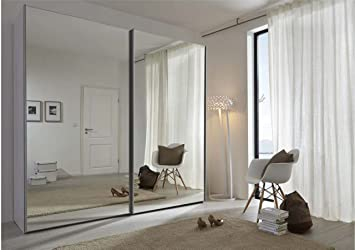 Schlafzimmer Komet White: Mirror Sliding Door Wardrobe - 236cm Wide - German Made Bedroom Furniture