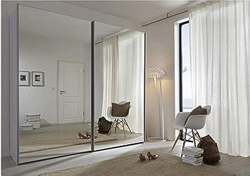 Schlafzimmer Komet White: Mirror Sliding Door Wardrobe - 236cm Wide - German Made Bedroom Furniture