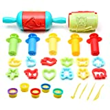 Ludos 26 Pc Play Dough Tools Set with 5 Tubs of Clay Dough, Super Rolling Pins with Imprints, Extruders, Plastic Cookie Cutters Plus More Accessories| Fun Animals and Shapes for Toddlers and Kids (Color: Multicoloured)