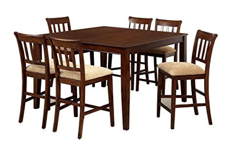 Furniture of America Counter Height Stoney 7-Piece Dining Set, Brown Cherry