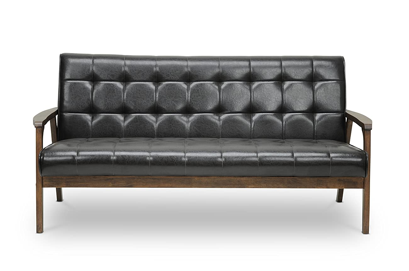 Baxton Studio Mid-Century Masterpieces Sofa, Brown 1