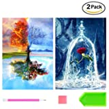 2 Pack DIY Diamond Painting Kits for Adults, Kpow 5D Diamond Painting Full Drill Paint with Diamonds Four Seasons Tree & Rose for Home Wall Decor by Number Kits (12X16inch) (Color: Four Seasons Tree+Rose)