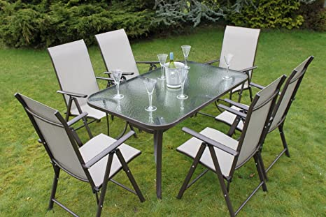 Henley 6 Seater Garden Dining Set - 6 Folding Chairs and a Glass Top Table