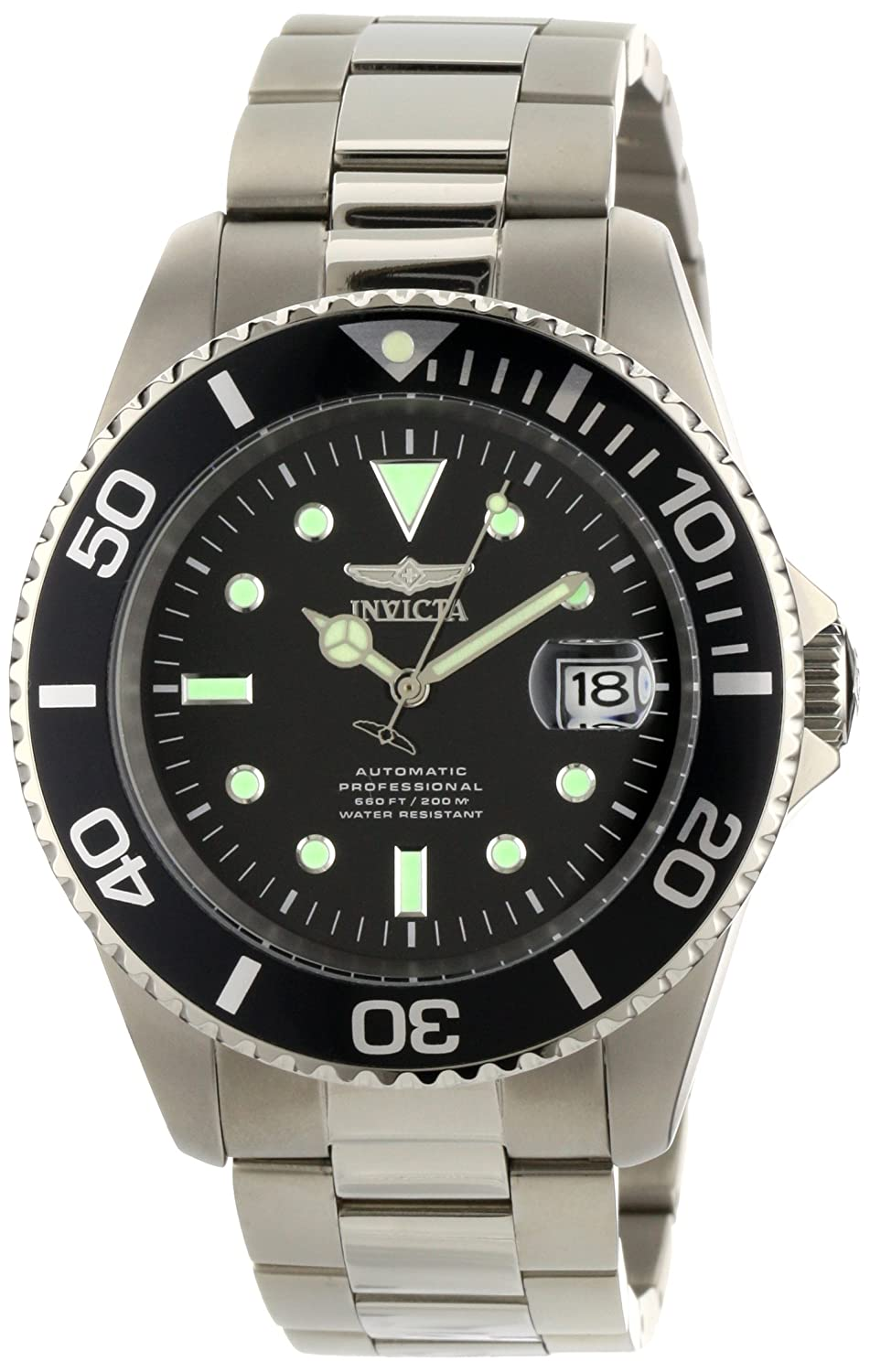Invicta Men's 0420 Pro Diver Automatic Black Dial Titanium Watch
