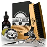 Beard Grooming Kit & Conditioner Products For Men Care / Wild Board Bristle Brush - Pocket Size Mustache Comb - Natural Leave-in Balm - Organic Oil - Stainless Steel Trimming Scissor & Shaping Tool