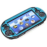 COSMOS ® Light Blue Aluminum Metallic Protection Hard Case Cover for PlayStation PS VITA 2000 & Cosmos Brand LCD Touch Screen Cleaning Cloth (NOT for vita 1000 series) (Color: Light Blue)
