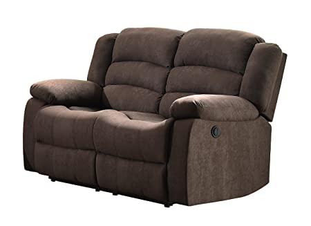 Homelegance 8436CH-2 Transitional Design Rolled Tufted Reclining Love Seat Chocolate