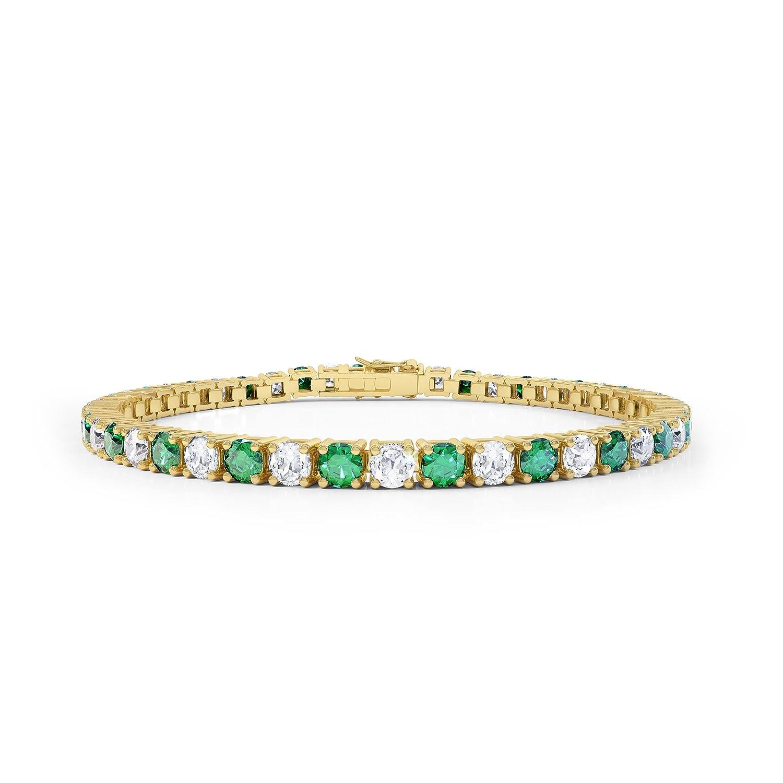 Stardust Smaragd und Diamant Damen-Armband – Silber – Gelbgold als Geschenk