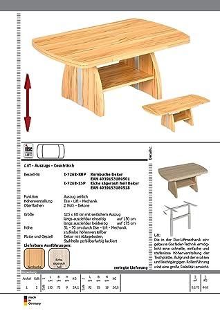 Quattro casa tavolino da salotto i-KBP 7268, effetto faggio 125/68/51-70cm di altezza, regolabile in altezza e allungabile