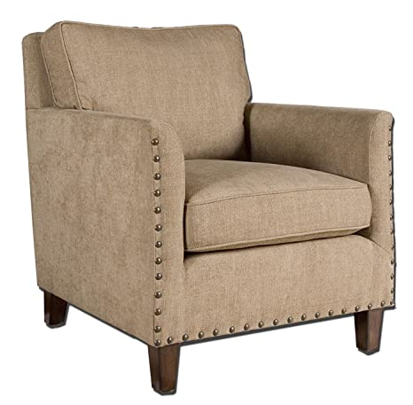 Uttermost Keturah Chenille Armchair with Hardwood Frame And Comfortable, Loose Box Cushions