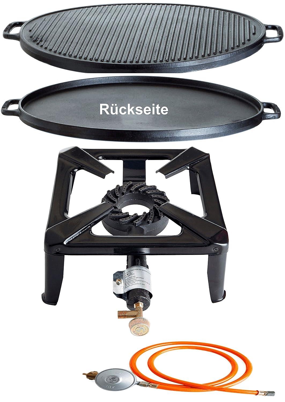 Paella World International Gaskocher Hockerkocher-Set mit Gusseisengrillplatte und Gasanschluss-Set Mehrfarbig, 3-teilig günstig