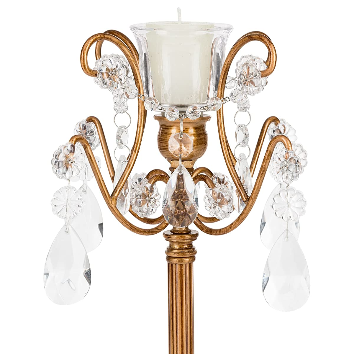 Candlestick Holder with Glass Crystals, 1-Light Wedding Centerpiece Home Decoration Tea Light and Taper Candle (Gold)