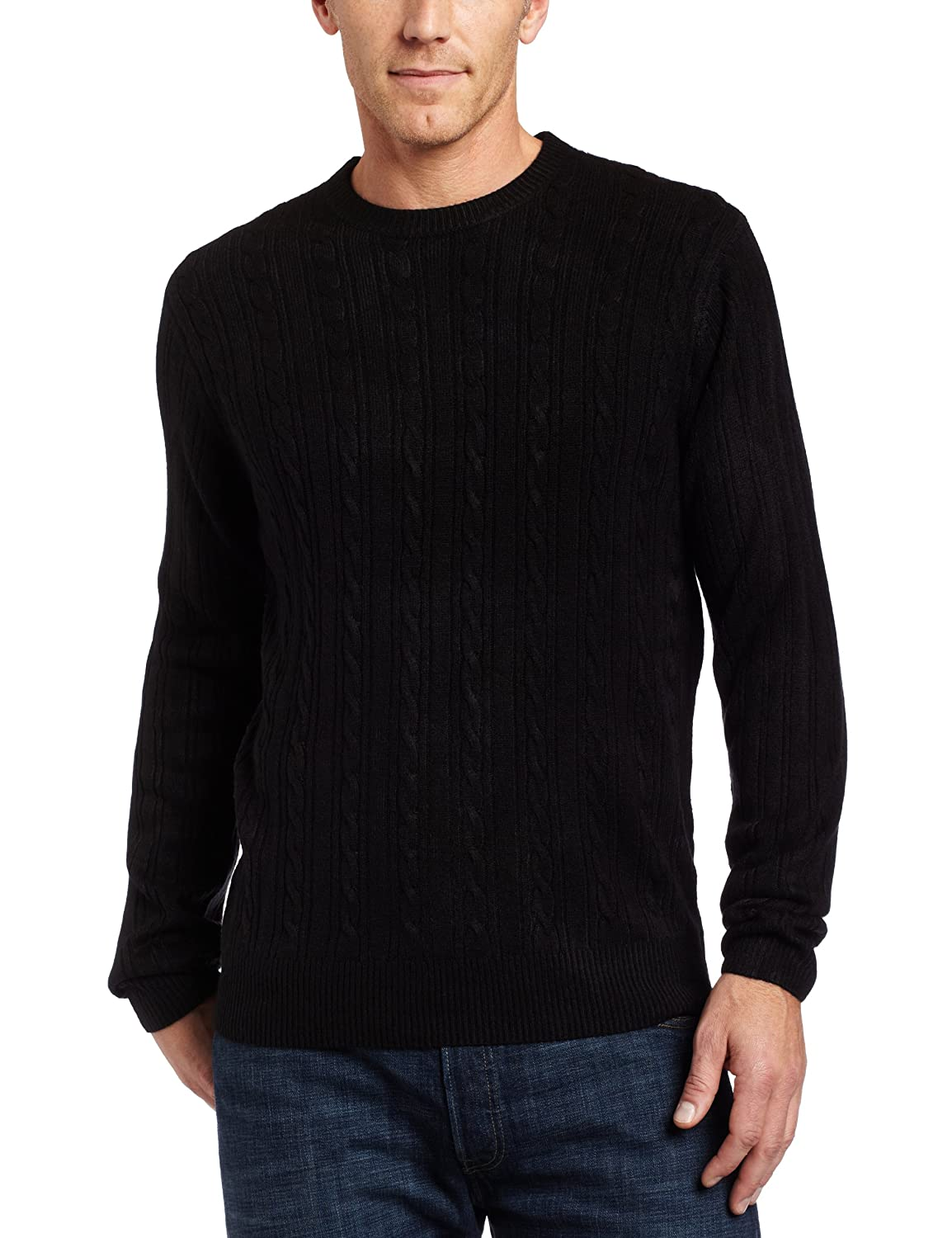 Geoffrey Beene Mens Soft Acrylic Crew Sweater, Black, XX-Large