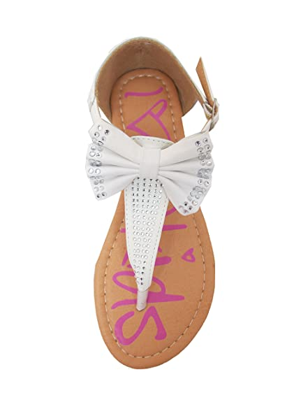 Amanda-15 Little Girls Flat Thong Sandals with Bow and Rhinestones