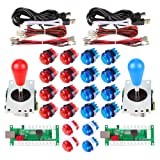 Avsiri 2 Player LED Arcade DIY Parts 2X USB Encoder + 2X Ellipse Oval Style Joystick + 20x LED Arcade Buttons for PC MAME Raspberry Pi Windows (Red & Blue Kit) (Color: Red & Blue Kit)