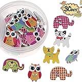 FINGOOO 30PCS Adorable Animal Thumbtacks Colorful Decorative Pushpins for Home, Office Cork Board,Photo Wall, with Storage Box (Color: Animal)