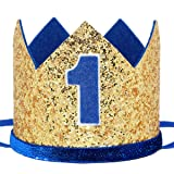 Maticr Glitter Baby Boy First Birthday Crown Number 1 Headband Little Prince Princess Cake Smash Photo Prop (Large Gold & Royal 1) (Color: Large Gold & Royal 1, Tamaño: Small)