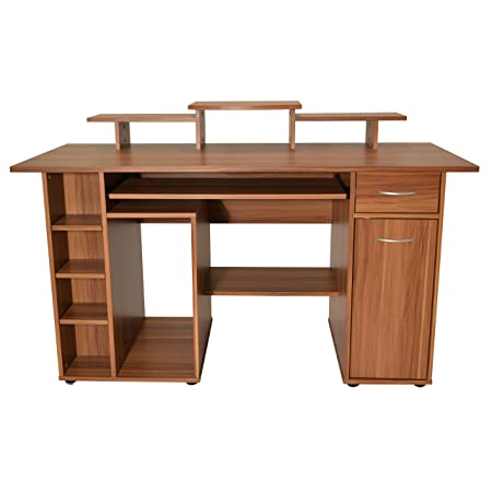 Sturdy Modern Computer Desk with Huge Amounts of Storage Space in Wood Effect Finish - This Workstation is a Must for Any Busy Office. (Walnut)