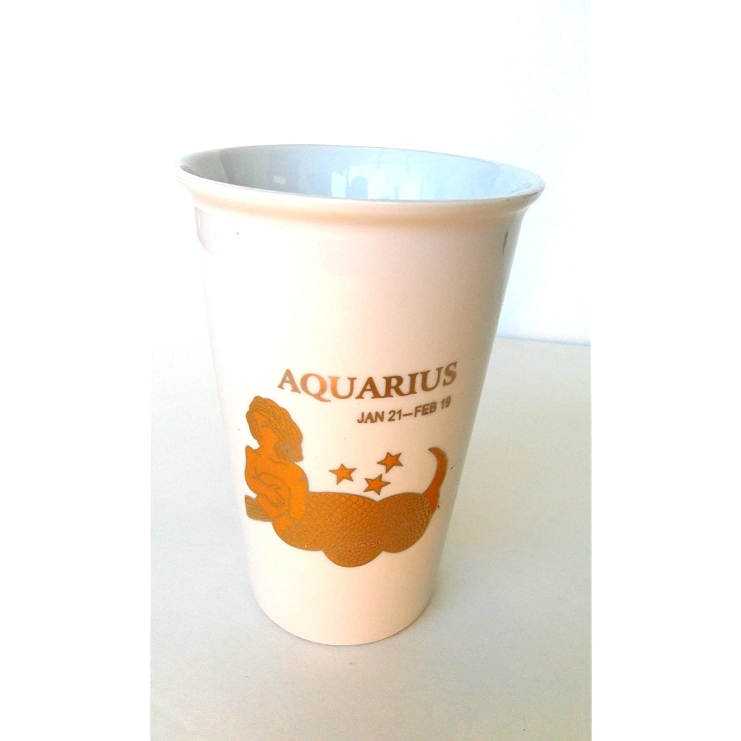 Birthday Gift of Zodiac Sign Aquarius Embossed in Gold Travel Coffee Tea Mug Ceramic 15oz
