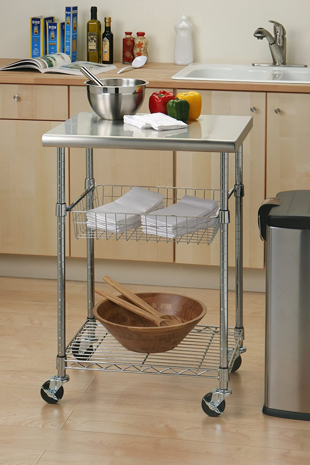 Kitchen Cart Rolling Food Prep Storage Table Workstation Island Stainless Steel Ebay
