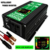 FULAI 1000W Power Inverter DC 12V to AC 110V Car Power Inverter 1000W Converter with LCD Display Screen USB Port (Black) (Tamaño: 1000W)