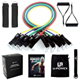 UPOWEX Resistance Bands Set – Include 5 Stackable Exercise Bands with Carry Bag, Door Anchor Attachment, Legs Ankle Straps & Bonus eBook – 100% Life Time Guarantee (Resistance Band)