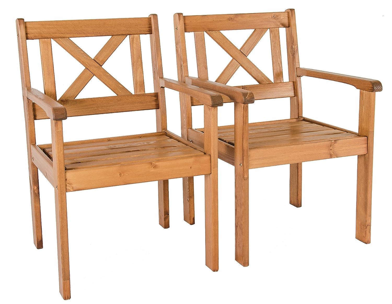 Ambientehome Garten Sessel Stuhl Massivholz Gartenmöbel EVJE, braun, 2-teiliges Set günstig