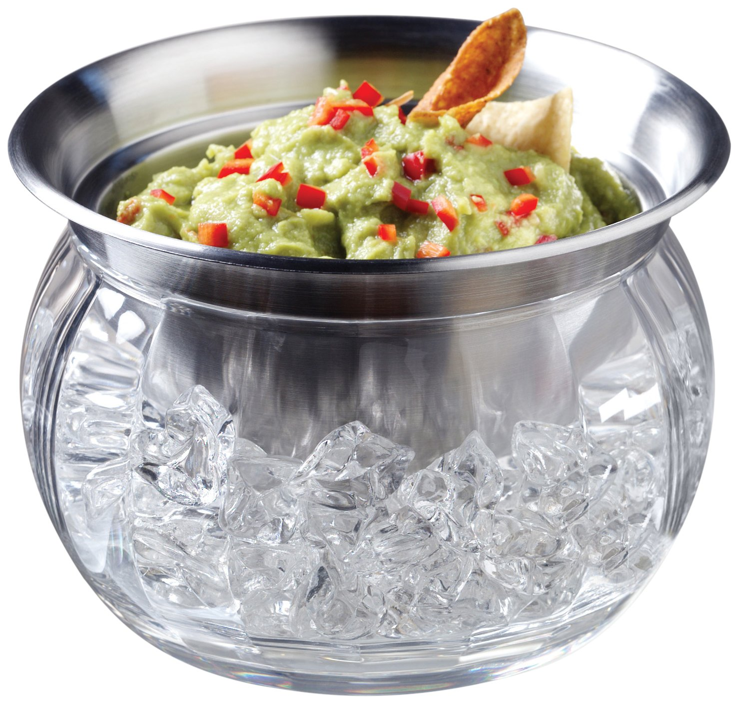 Prodyne ICED Dip-on-Ice Stainless-Steel Serving Bowl, Set of 4